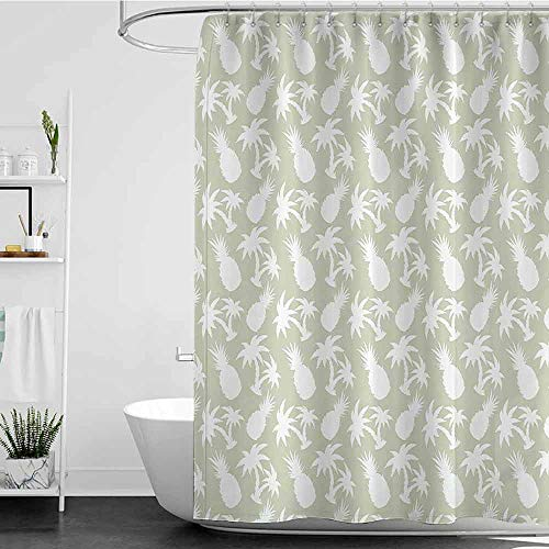 Shower Curtains Dragonfly Pineapple Decor Collection,Silhouettes Coconut Palm Trees and Pineapples Floral Repeating Background Stylized Art,Ivory White W48 x L84,Shower Curtain for Bathroom