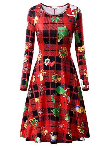 VETIOR Christmas Tree Dress, Womens Long Sleeves Casual A-line Christmas Tree Printed Dress -