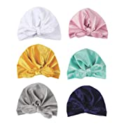 CaJaCa 7 Pack Newborn Baby Toddler Cotton Hat Baby Girl Knotted Hat Cute Donut Soft Turban Bow Cap Set (CL01)
