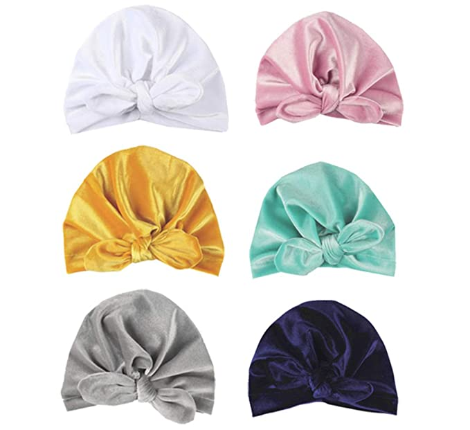e1b10a4d8 CaJaCa 7 Pack Newborn Baby Toddler Cotton Hat Baby Girl Knotted Hat Cute  Donut Soft Turban Bow Cap Set