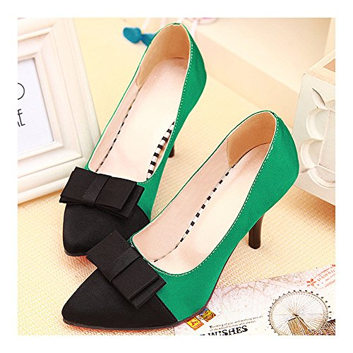 Chromatic Pointed green Thin Heel Sexy 36 Women Color Shoes BZC6aqWwxP