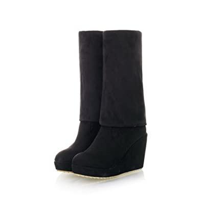 VogueZone009 Womens Closed Round Toe High Heel Wedge Platform Wedge PU Short Plush Frosted Solid Boots