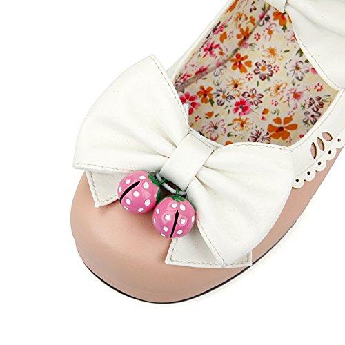Lucksender Womens Supersöt Ankelbandet Chunky Häl Pumpar Skor Med Bowknot Rosa