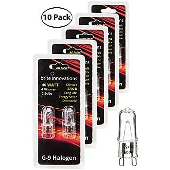 Brite Innovations G9 Halogen Bulb, 40 Watt - 10 Pack - Energy Saving - Dimmable - Soft White 2700K - 120V - Q40, CL, T4 JD Type, Clear Light Bulb
