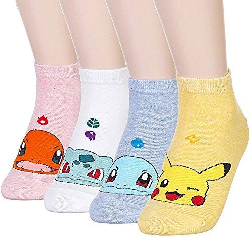 Happytree Famous Totoro Anime Cartoon Novelty Cotton Socks 3 to 6 Pack (Pokemon 4 Pairs)