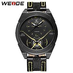Men Fashion Sport Military Oversize Analog Digital Quartz Watch With Nylon Strap Dual Time Zone Clock (yellow)