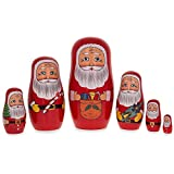 BestPysanky 5.5'' Set of 6 Santa Claus Wooden Nesting Dolls