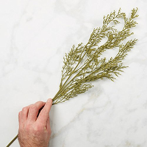 Factory Direct Craft Flocked Mossy Green Artificial Cedar Pine Stems for Indoor Decor - 6 Stems