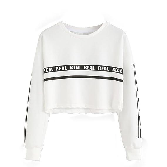 Sky Moda Mujer Carta Impresión Crop Sweater Top Blusa Blanco Letter Printing Loose Sweater (L