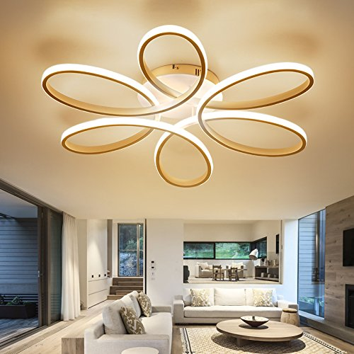 LightInTheBox Floral Flush Mount 90W Modern Contemporary LED Chandelier Ceiling Light Fixture Diameter 29.5 Inch for Living Room Bedroom Dining Room Study Room Office Kids Room (Warm White) - Floral Ceiling Fixture