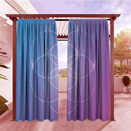 Curtains Rod Pocket Two Panels Sacred Geometrty Decor Round Forms in Two Dimensional Space Axis Historical Artifact Image Darkening Thermal Insulated Blackout W84x72L Blue Purple