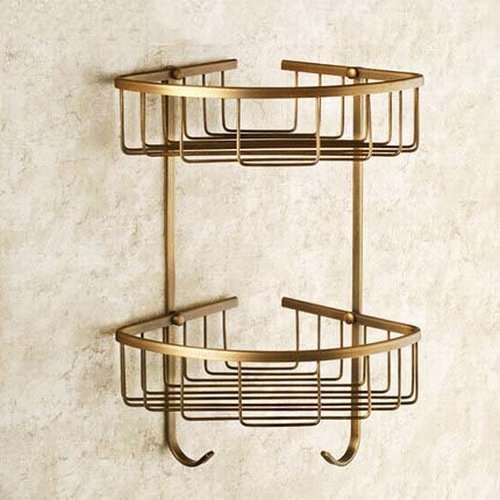Greenspring Dual Tier Corner Bracket Antique Brass Bathroom Shelf Shower Caddy Basket Holder Brass Double Corner Shower Basket