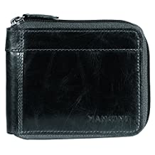 Mancini 106159-Bk Rfid Secure Men's Zippered Wallet with Removable Passcase, Black, Under Seat