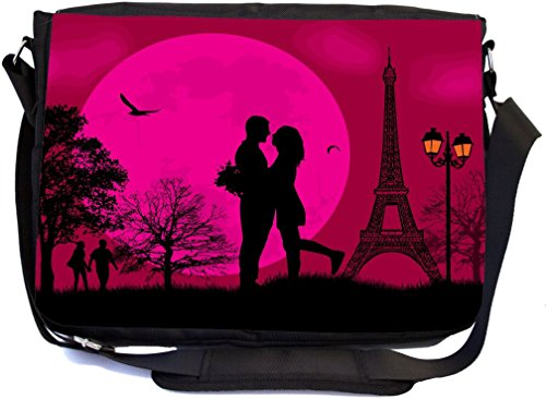 Rikki Knight Romantic Couple in Love on Pink Parisian Background Design Multifunctional Messenger Bag - School Bag - Laptop Bag - Includes Matching Compact Mirror by Rikki Knight