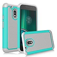 Moto G4 Play Case, Moto G Play Case, Venoro 2 in 1 Hard PC & Soft Silicone Hybrid Dual Layer Anti Scratch Bumper Rubber Defender Phone Case for Motorola Moto G4 Play XT1607 (Turquoise/Grey)