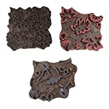 IndianShelf Set of 3 Piece Brown Wooden Stamp Paper Printing Textile Handmade Canvas Fabric Block