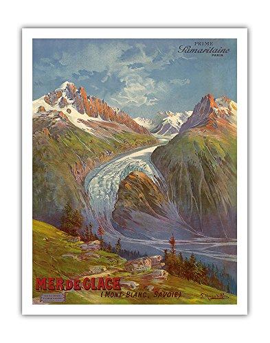 Mer de Glace (Sea of Ice) Glacier - Mont Blanc (Savoie) Alps, France - Prime Samaritaine Paris - Vintage World Travel Poster by Freidrich Hugo D'Alesi c.1890s - Fine Art Print - 11in x 14in