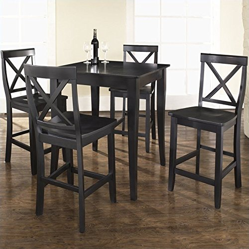 Cheap Crosley 5-Piece Pub Dining Set with Cabriole Leg and X-Back Stools, Black Finish