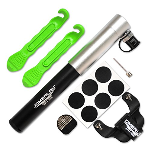 Mini Bike Pump With Self-Adhesive Patch Repair Kit, Tire Levers, Frame Mount & Ball Needle - Dual Action, Fits Presta & Schrader Valve For Road, Mountain or BMX Bicycles (Bomba De Aire Manual compare prices)
