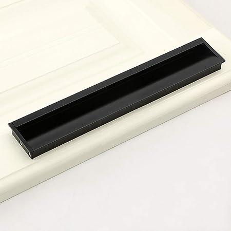 Decoración hogareña Cajón Invisible Gabinete con manija Oscura Manija integrada para Puerta Manija para Puerta corredera de guardarropa, aleación de Aluminio (Negro, Oro, Plata): Amazon.es: Hogar