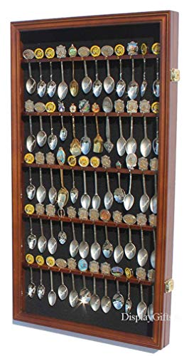 (60 Spoon Rack Display Case Holder Wall Cabinet, UV Protection, Lockable (Walnut)