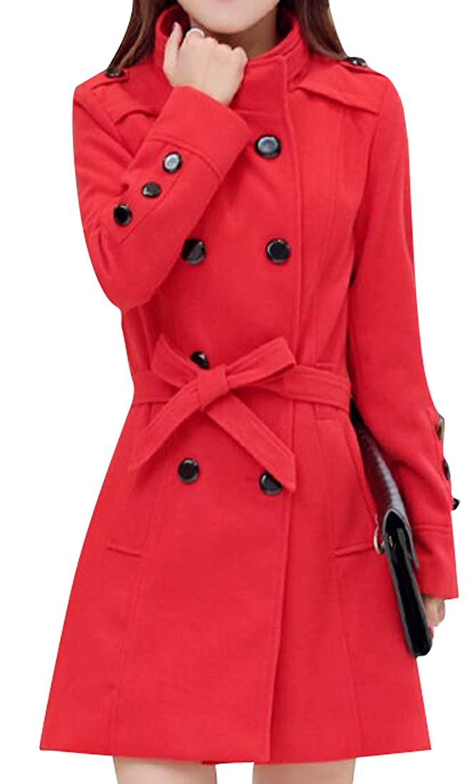 MOUTEN-Women Winter Trench Jacket Double-Breasted Belted Wool Blend Peacoat Outwear