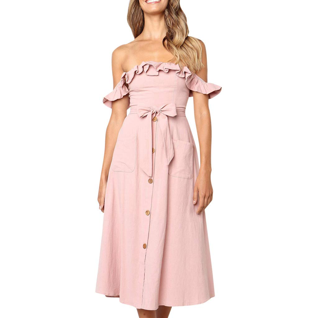 Womens Dresses Summer Casual Dress for Women Off Shoulder Bow Maxi Dresses Party Beach Dresses Sundress Pink