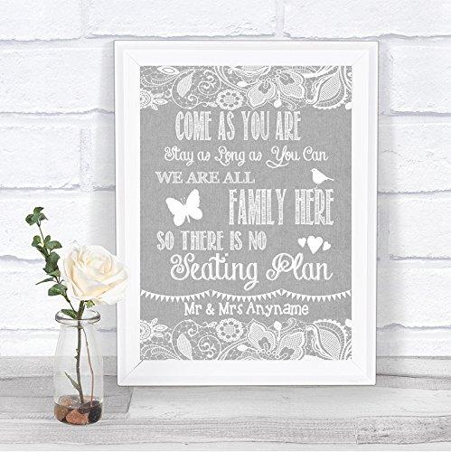 Grey Burlap & Lace Effect Sit Anywhere No Seating Plan Personalised Wedding Sign Print Fingerprint Designs