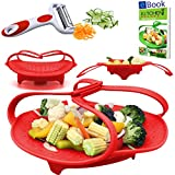 "PREMIUM Silicone Vegetable Steamer Basket - Red - 8"" - Kitchen Bundle - Heat Resistant Silicon - BONUS Food eBook + 3 in 1 Julienne Veg Peeler"