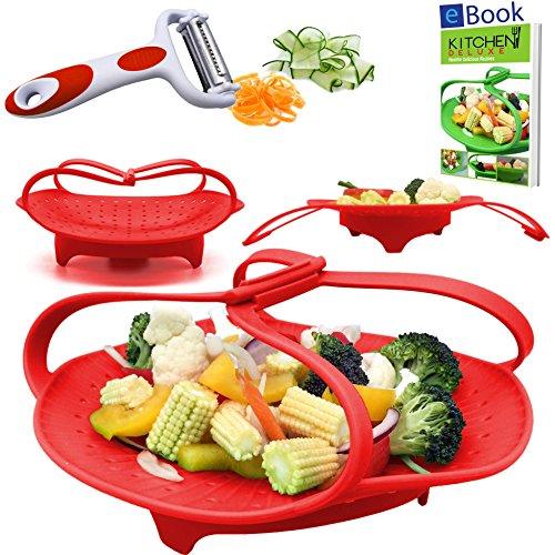 "PREMIUM Silicone Vegetable Steamer Basket - Red - 8"" - Kitchen Bundle - Heat Resistant Silicon - BONUS Food eBook + 3 in 1 Julienne Veg Peeler"