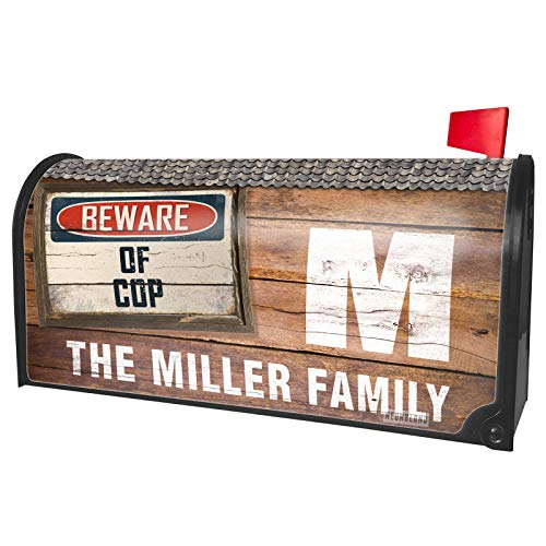 NEONBLOND Custom Mailbox Cover Beware of Cop Vintage Funny Sign -