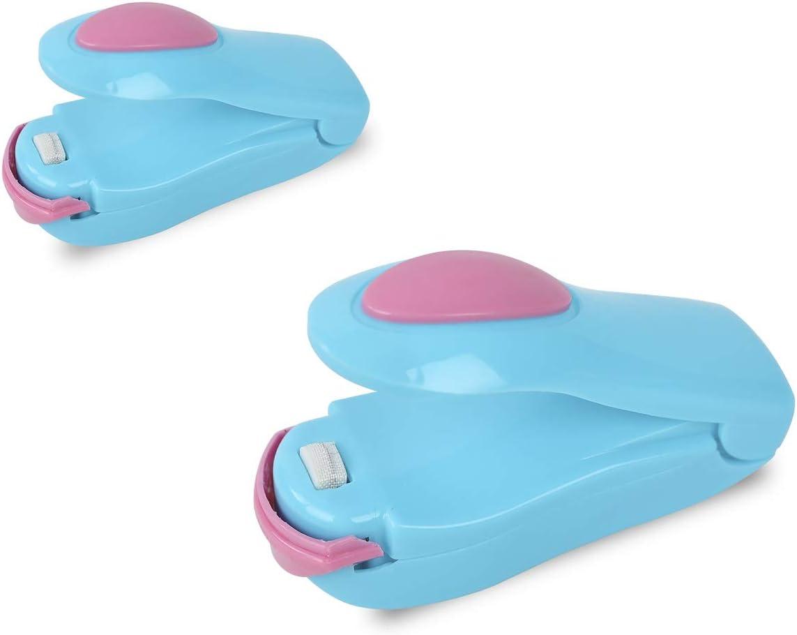 YiapMerg 2 PACK Mini Bag Sealer, Portable Food Sealer, Handheld Heat Vacuum Sealers for Plastic Snack Chip Bags Food Storage (Blue)