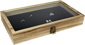 Mooca Wood Glass Top Jewelry Display Case, Wooden Jewelry Tray for Collectibles, Home Organization Storage Box with 72 Slot Compartments Black Ring Tray, Oak Color