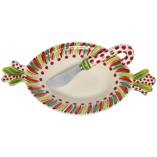 Caffco International M.Bagwell Simply Christmas Collection Candy Shaped Bowl with (Oval Cane Handles)
