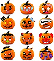 WhatSign 24 Packs Halloween Pumpkin Decorating Kits Stickers,Halloween Pumpkin Crafts Foam Stickers for Kids,H