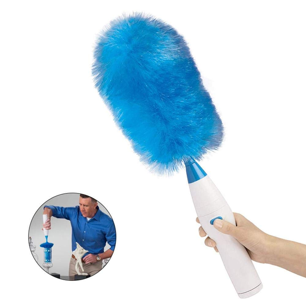 Electric Feather Duster Dust Removal Zen Sweep Gray Artifact Automatic Household Rotary Cleaning Brush Scalable by ALXLX