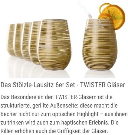 Stölzle Lausitz Taza Twister, 465 ML, 6er Set, Se Puede Utilizar Universalmente, para Agua, Zumos, Cócteles, Vino, Soporte de Vela, Búcaro, Apto para Lavavajillas - Blanco (Mate), Oro