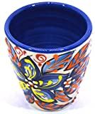 Art Escudellers Ceramic WINE CUP, handmade and handpainted in flower decoration. 2,95' x 2,95' x 3,15' (BLUE MARINE FLOWER)