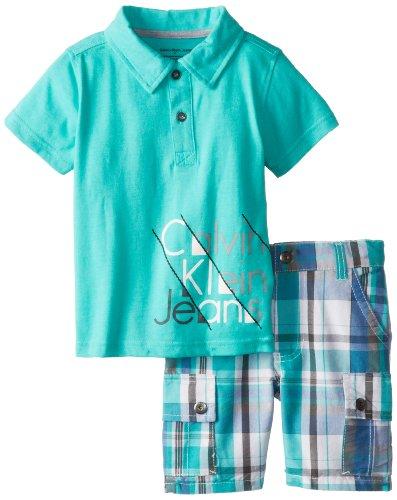 Calvin Klein Boys 2-7 Toddler Cargo Shorts, Green, 3T