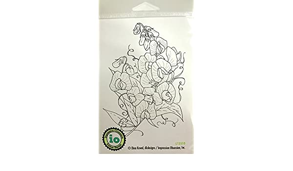 Impression Obsession IO Sweet Peas Cling Mounted Rubber Stamp CC284 Cover A Card