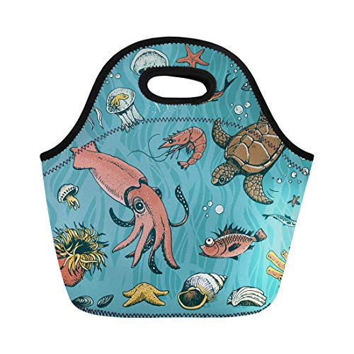Anemone Bubble - Semtomn Lunch Bags Animal Sea Underwater Turtle Bubble Squid Actinia Anemone Aquatic Neoprene Lunch Bag Lunchbox Tote Bag Portable Picnic Bag Cooler Bag