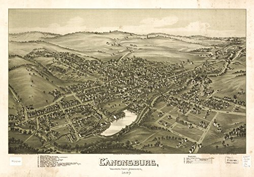 32 x 24 Reprinted Old Vintage Antique Map of: c.1897 Canonsburg, Washington County, Pennsylvania 1897 m130 - 1897 Map