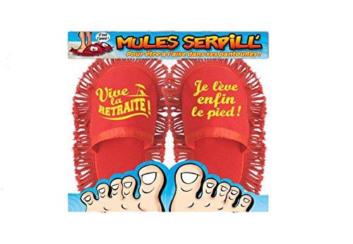 Chaussons Mules Humoristiques Serpillière RETRAITE Taille Unique (Longueur 27 cm)