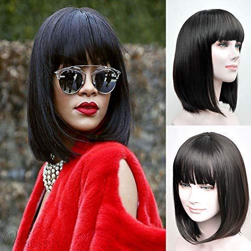 RUISENNA Women's Yaki Synthetic Full Hair Wigs Short Straight Black Bob Wig 100% Heat Resistant Fiber Wigs For Women   -
