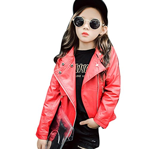 Gallity Baby Kids Girls Cool Leather Jacket Zipper Pocket Outwear Coat Clothes Spring Autumn (10T, Red)