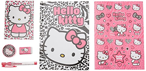 Hello Kitty Stationery Set in Clear Binder Pouch 6 pcs Set (Journal, Memo Pad, stickers, eraser, sharpener and Gel Pen)
