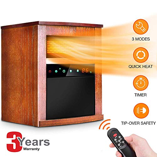 Photo Electric Space Heater -1500W Infrared Heater with 3 Heat Settings, Remote Control&Timer, Room Heater with Overheat&Tip-Over Shut Off Protection, for Indoor Use, Quiet Operation, Wood Cabinet, L, Brown