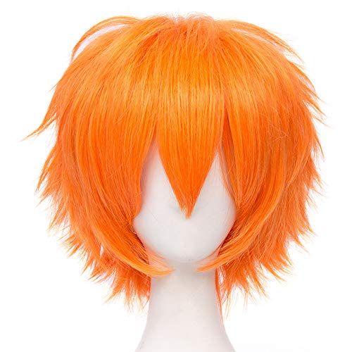 Max Beauty Unisex Anime Short Cosplay Short Wigs With Bangs Heat Resistant Hair for Party and Halloween for Gift + Free Cap (Bright Orange)