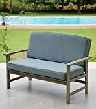 Cambridge-Casual 141134BLU West Lake Loveseat with Cushions, Weathered Grey With Spruce Blue