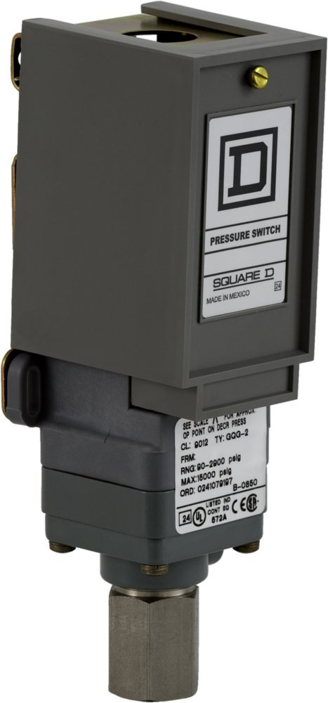 Square D 9012GQ Industrial Single-Stage Piston-Actuated Pressure Switch, 90-2,900 psi Press. Range, NEMA 1 Enc., 1/4''-18 NPTF Press. Connection, SPDT Contacts